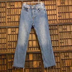 Top shop distressed light-wash dad jeans